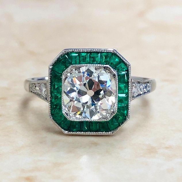 Vintage Style Platinum Diamond & Emerald Halo Engagement Ring