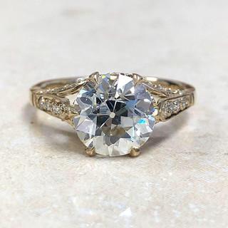 18 Karat Gold and Old European Cut Diamond Engagement Ring