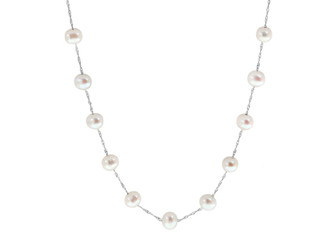 White Gold Natural White Fresh Water Pearl Tin Cup Necklace