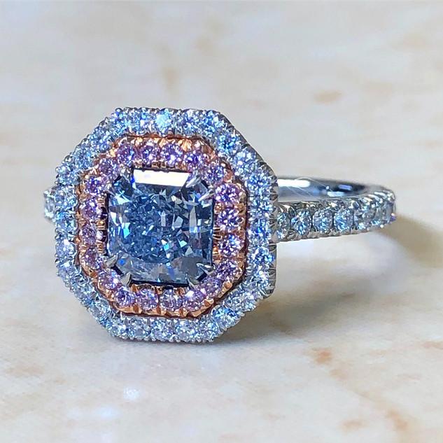 0.85 Carat Blue & Pink Diamond Engagement Ring