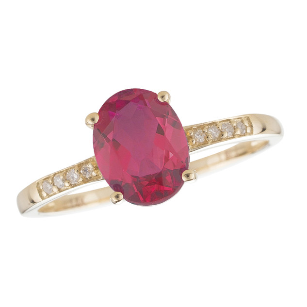 July: Yellow Gold Oval Ruby and Diamond Ring