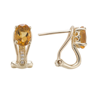 November: Yellow Gold Oval Citrine and Diamond Earrings