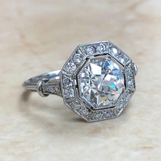 Antique Style Platinum Diamond Ring