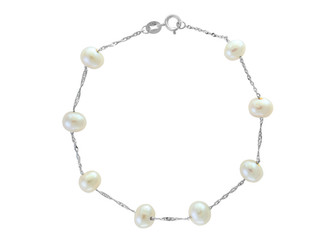 White Gold Natural White Fresh Water Pearl Tin Cup Bracelet