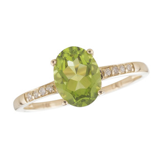 August: Yellow Gold Oval Peridot and Diamond Ring