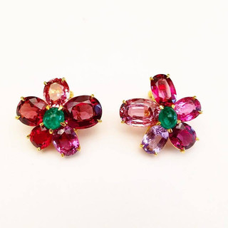 Spinel and Emerald Earrings by Carvin French