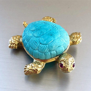 18 Karat Gold, Turquoise and Ruby Brooch by Carvin French