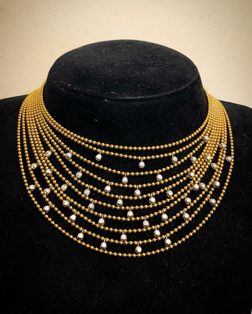 18 Karat Yellow Gold and Diamond Cartier Necklace