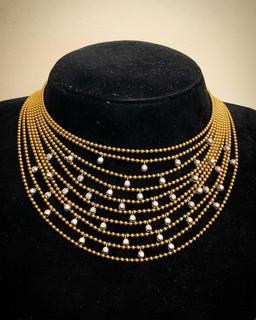 18 Karat Yellow Gold and Diamond Cartier Necklace