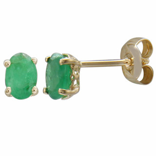 May: Yellow Gold Oval Emerald Stud Earrings