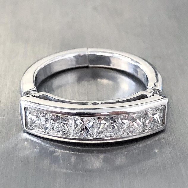 Vintage Handcrafted 18 and 14 Karat White Gold and Diamond Band