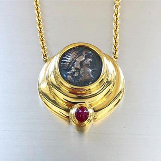 Vintage 18 Karat Gold, Coin and Ruby Pendant by Carvin French