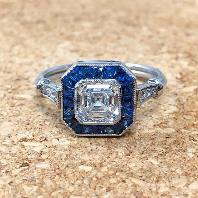 1.02 Carat Asscher Cut Diamond and Sapphire Engagement Ring