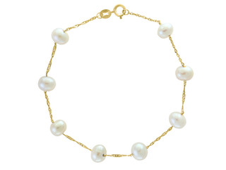 Yellow Gold Natural White Fresh Water Pearl Tin Cup Bracelet
