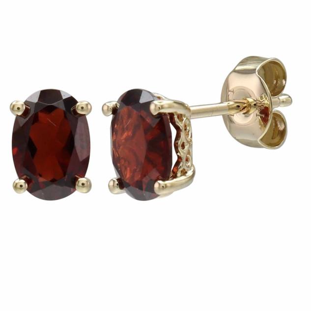 January: Yellow Gold Oval Garnet Stud Earrings