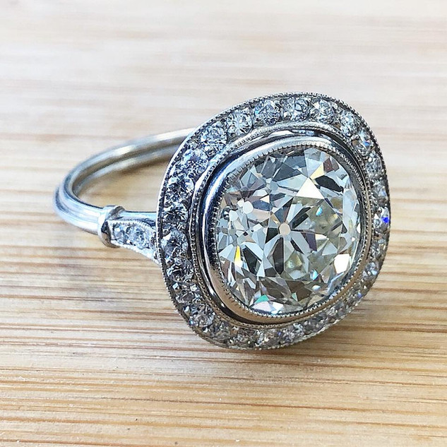 4.62 Carats Estate Diamond Halo Engagement Ring