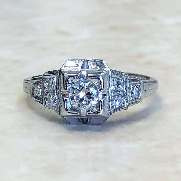 Vintage 18 Karat White Gold Diamond Engagement Ring