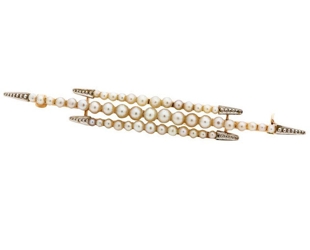 Vintage Platinum, Yellow Gold and Natural Pearl Lady's Brooch