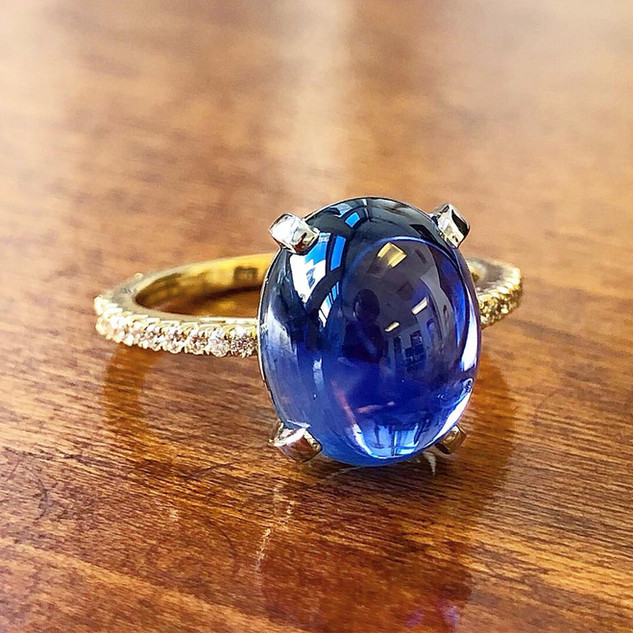 Untreated Ceylon Sapphire and Diamond Ring by Carvin French