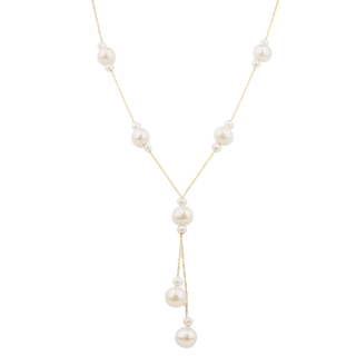 Yellow Gold Natural White Fresh Water Pearl Necklace