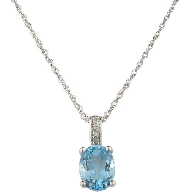 December: White Gold Oval Blue Topaz and Diamond Pendant