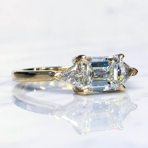 Emerald Cut And Trillion Diamond Engagement Ring