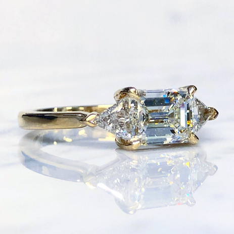 Emerald Cut And Trillion Diamond Engagement Ring