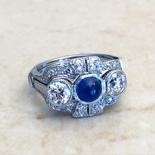 Rare Art Deco Handcrafted Platinum Sapphire And Diamond Engagement Ring With Jacket Ring