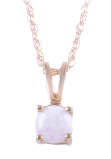October: Yellow Gold Round Opal Pendant