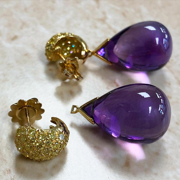 Convertible Yellow Diamond and Amethyst Earrings by Carvin French