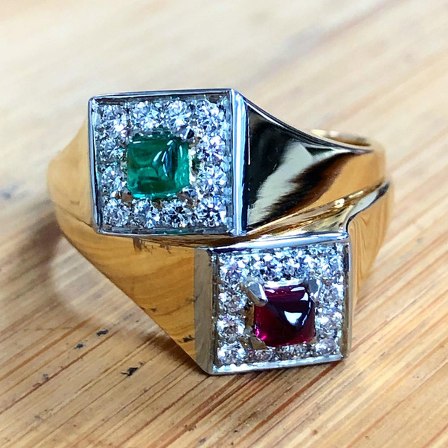 Vintage Emeralds, Ruby And Diamond Bypass Ring