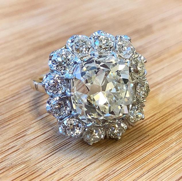 Cushion Cut Diamond Cluster Ring