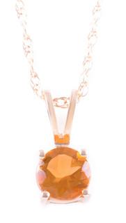 November: Yellow Gold Round Citrine Pendant