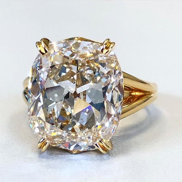 10.08 Carats Cushion Cut Diamond Ring