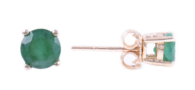 May: Yellow Gold Round Emerald Earrings
