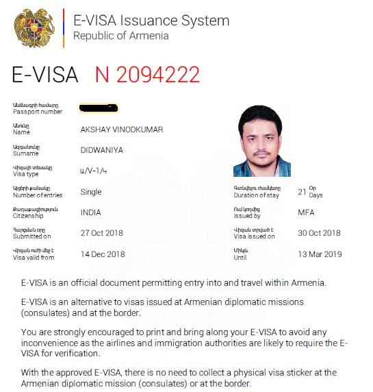 Armenian Visa For Indians