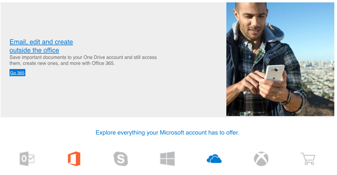 Supporting points for OneDrive email