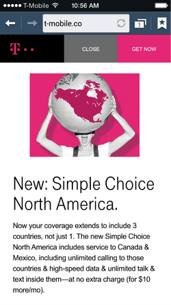 E-service page from in-app banner ad
