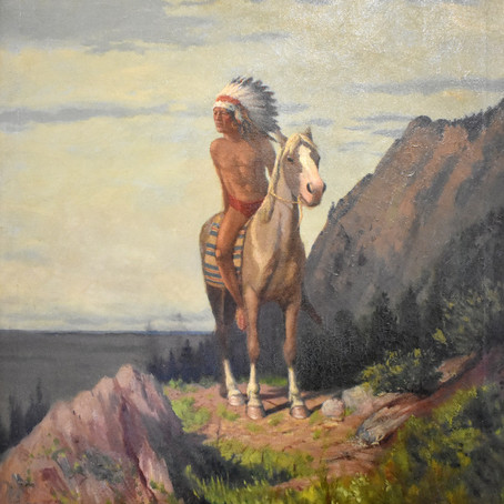 """CHARLES CRAIG """"ON LOOKOUT"""" OIL PAINTING ON CANVAS"""