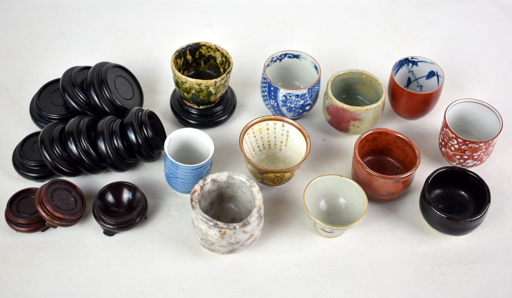 ASIAN TEA & SAKE CUPS WITH STANDS