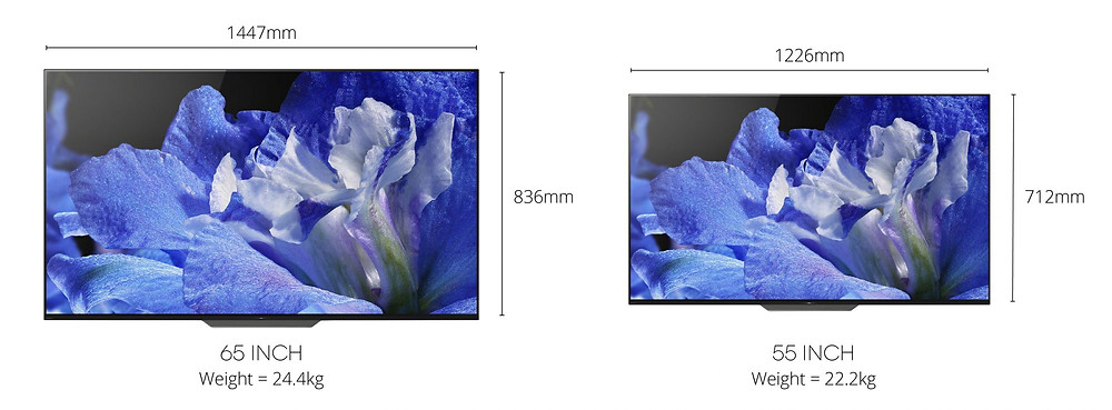 "Sony 55"" and 65"" TV Dimensions"