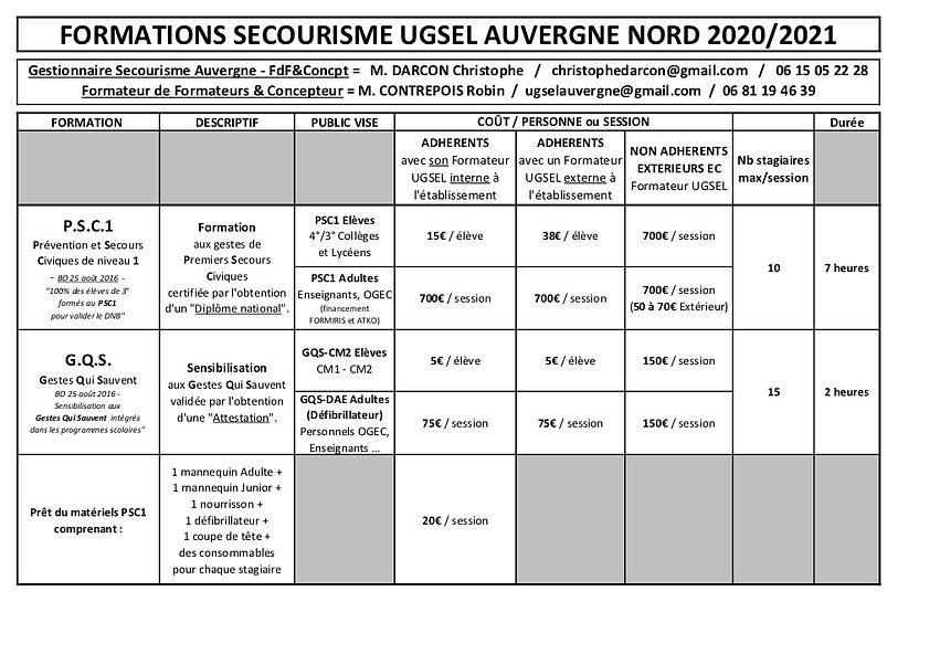 Tarifs Secourisme Ugsel Auvergne Nord 20