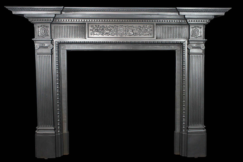 A Huge Original Victorian Cast Iron Fire Surround