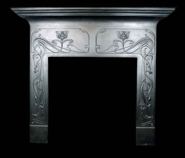 A Rare Original Art Nouveau Cast Iron Surround