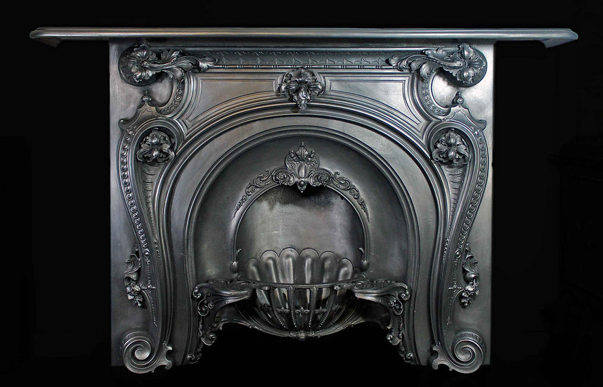 Stunning French Rococo Cast Iron Fireplace
