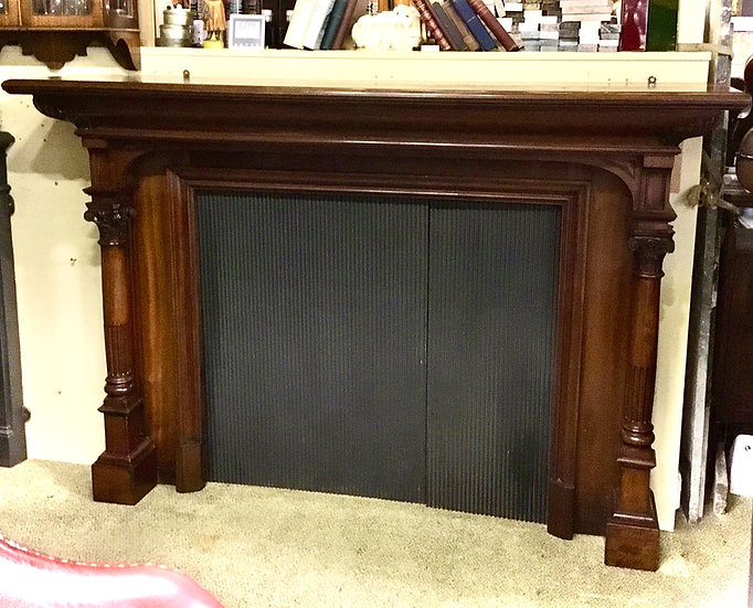 Walnut Victorian Lounge Fireplace Surround