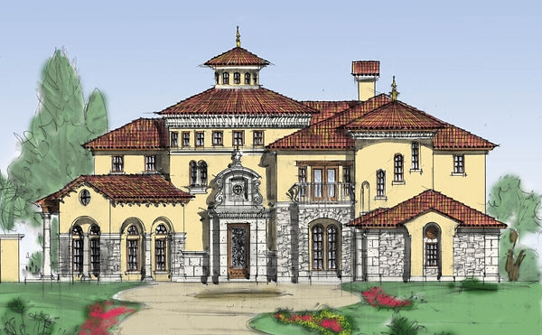 Ornate Tuscan Mediterranean style villa.