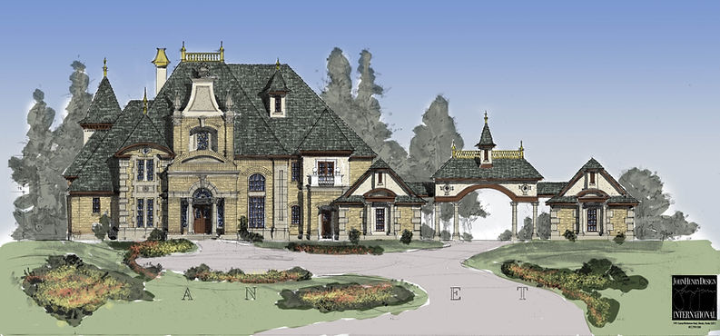 Brick French Country Castle Plan Design.