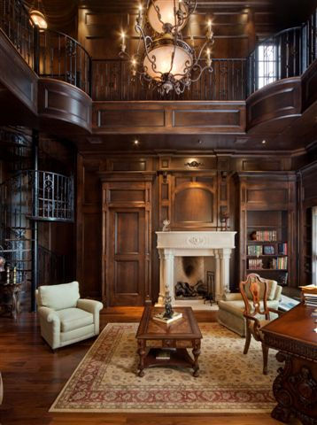 beautiful Manor House Library paneling C