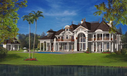 French Country Manor lakeside home design